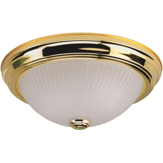 Home Impressions 11 In. Polished Brass Incandescent Flush Mount Ceiling Light Fixture