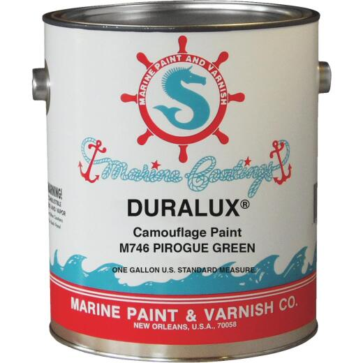 DURALUX Flat Marine Paint, Camoulflage Pirogue Green, 1 Gal.,